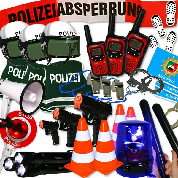 Verleihkiste Polizei mieten: Blaulicht, Handschellen, Polizeihelm..., Kostümzubehör Verleih