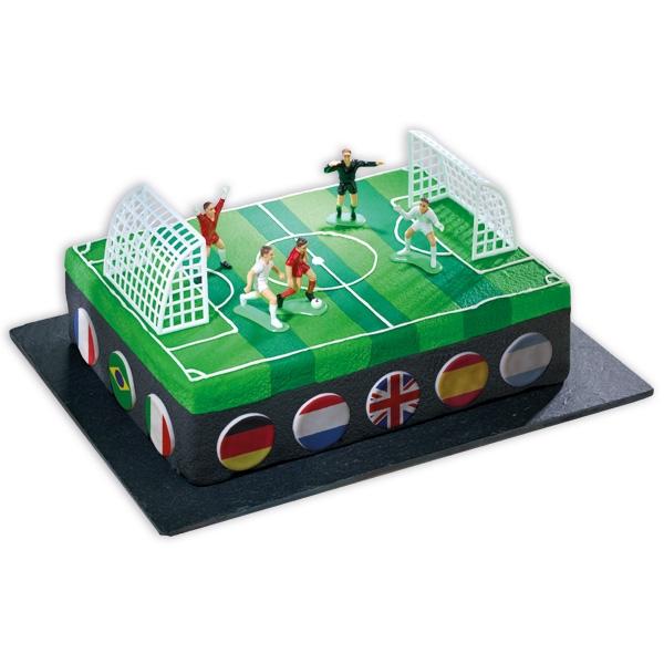 Fußballfeld Tortendeko-Set 7-teilig: 2 Tore+Schiedsrichter+Spieler,PVC