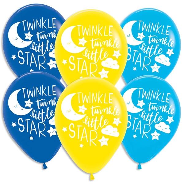 Twinkle - Little Star Luftballons 6 Stk, Ø 27,5cm, Babyparty