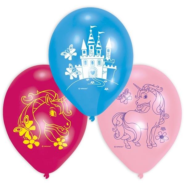 Einhorn Luftballons, 6er Pack mit märchenhaften Motiven, 23cm