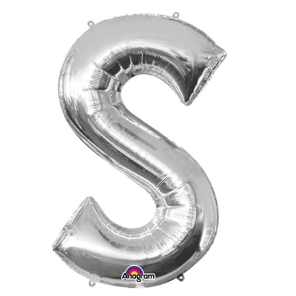 Mini Folienballon als Buchstabe S in silberner Farbe mit Ösen, 1 Stück