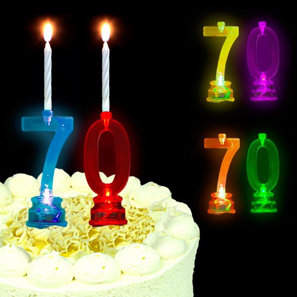 Blinkende Geburtstagszahl 70 als Tortendekoration zum 70. Geburtstag