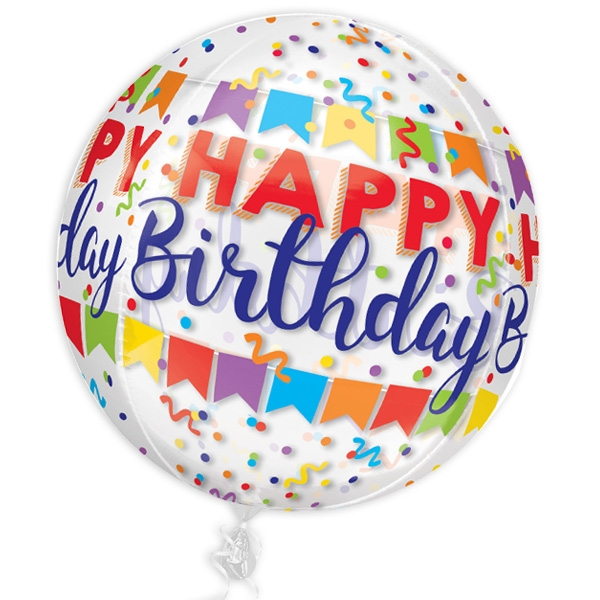 """Happy Birthday"" Folienballon, kugelrund, Ø 38cm"