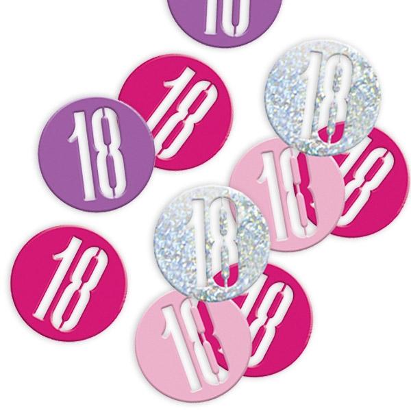 Happy Birthday Glitzerkonfetti zum 18ten, pink/silbern