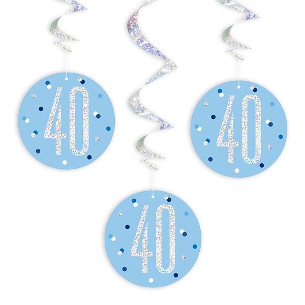 Hängespiralen zum 40. Geburtstag blau, 6-teilig