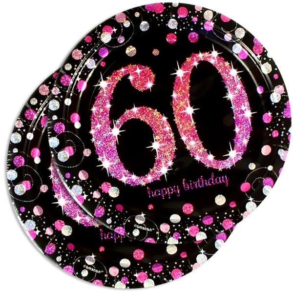 Sparkling Celebr. Glitzerteller pink, Zahl 60, 8 Stk., 23cm