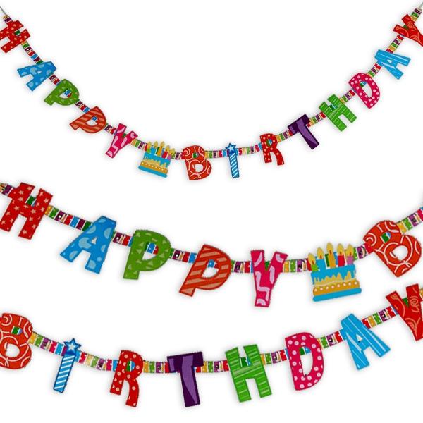 Happy Birthday Buchstabenkette, 1,55m x 10cm