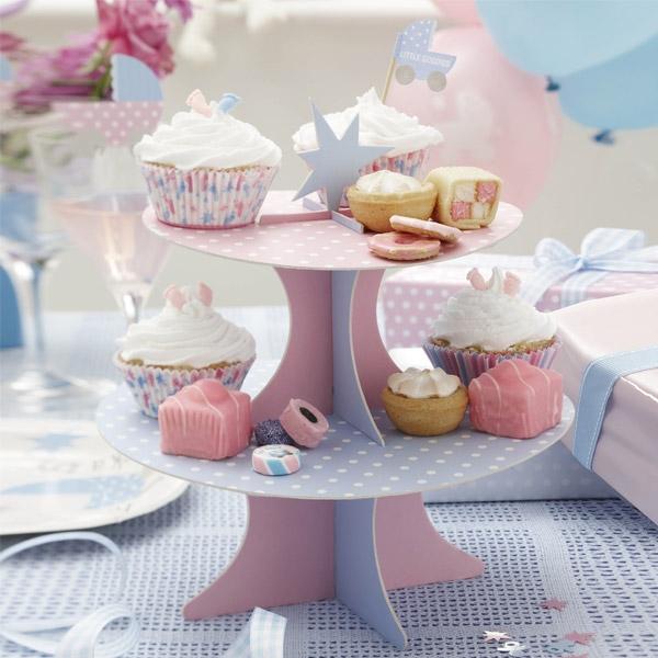 """Baby Shower Etagere zur Babyparty """"Tiny Feet"""", 2-stöckig für Muffins und Kuchen"""