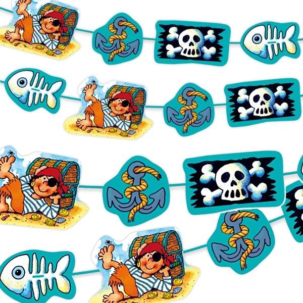 Pit Planke Girlande für Piratenparty kleiner Kinder, Pappe, 3m, 1 Stück