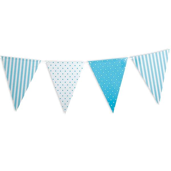 Wimpelkette, hellblau gepunktet & gestreift, 1 Stück, 3,6 m
