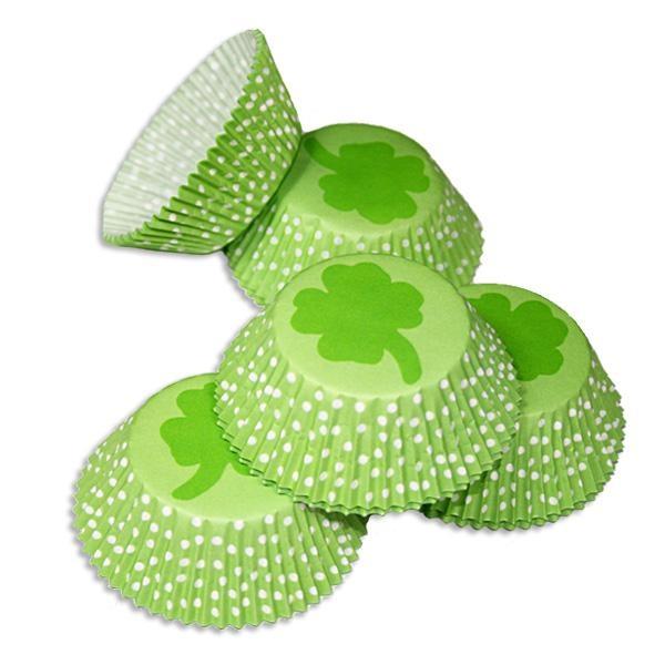 Kleeblatt-Muffinsförmchen 50 Stk. für Glücksbringer-Muffins aus Papier