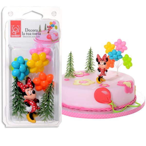 Minnie Tortenfigurenset Nonfood, Deko für Minnie Mouse Torte, 4-tlg
