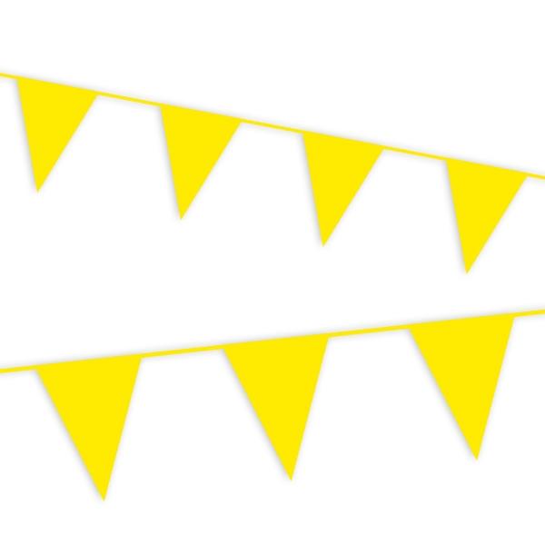 gelbe Wimpelkette mit vielen Folie-Wimpeln als Outdoor-Deko, 10m