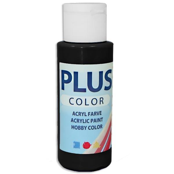 Bastelfarbe Plus Color, Farbe Schwarz, 60ml, hohe Deckkraft u. Intensität