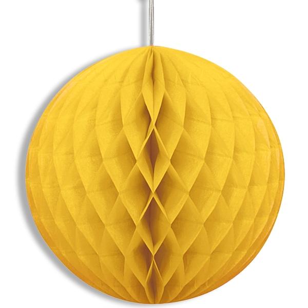 Gelber Wabenball mit Klebepads und Schnur zum Aufhängen, 20,3 cm