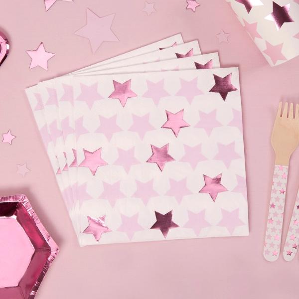 """Servietten """"Kleiner Stern"""" in rosa im 16er Pack"""