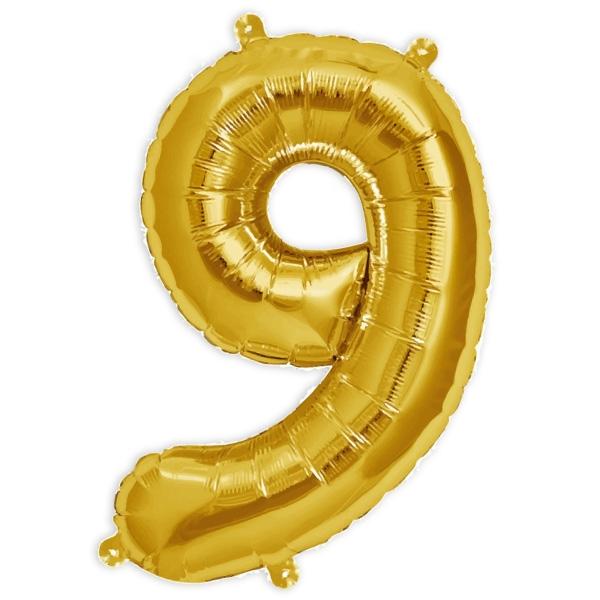 Folienballon Zahl 9, 41cm, auch in Kombination für 2stell. Geburtstage