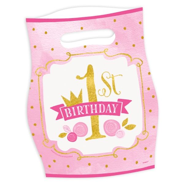 """""""1st Birthday"""" in pink & gold, Tüten, 8 Stück"""