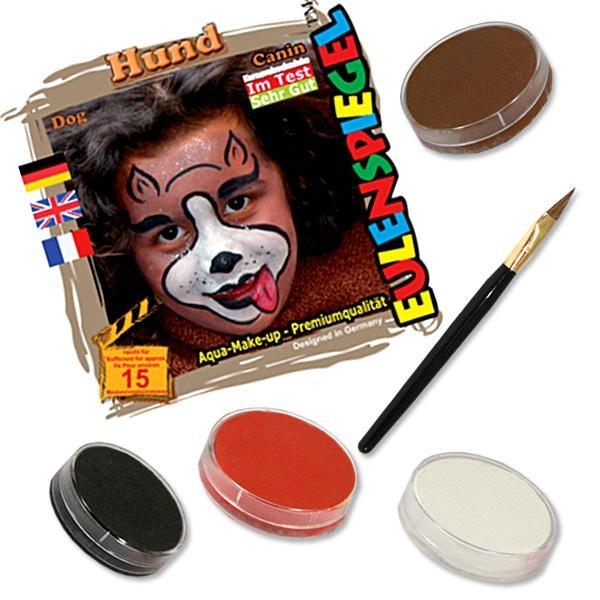 Kinderschminke-Set Hund, niedliches Motiv, Profi-Aqua, 4 Farben+Pinsel