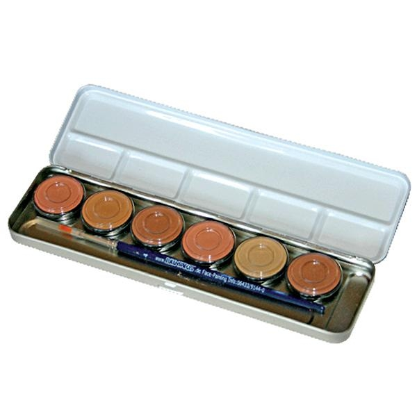 Schminke Hautfarben Metall-Palette, mit 6 x 3,5ml Farben, u. 1 Profi-Schminkpinsel