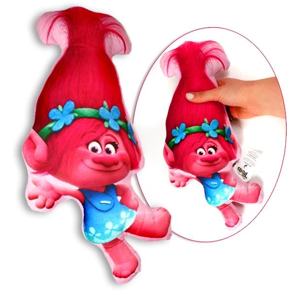 Trolls Kissen als Poppy, niedliche Schmusekissen für Fans, 35x16cm