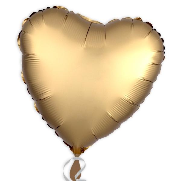Folienballon als Herz in Gold, einfarbiger Herzballon, 34cm