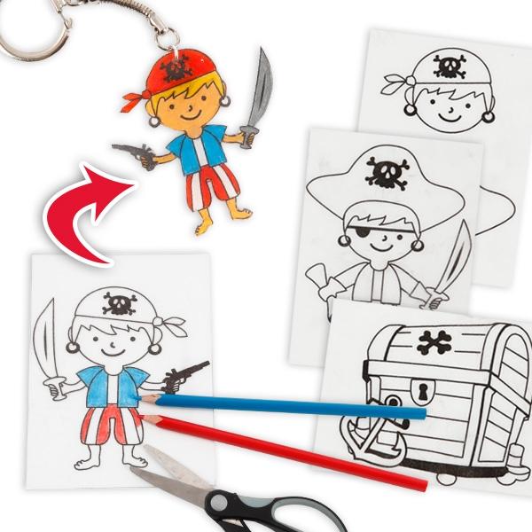 Piraten-Schrumpffolien Set mit 4 Piratenmotiven für Kids + Anleitung