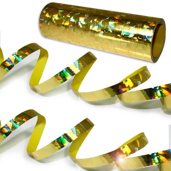 Holographische Luftschlangen Regenbogen, goldfarben glänzend, 1 Rolle