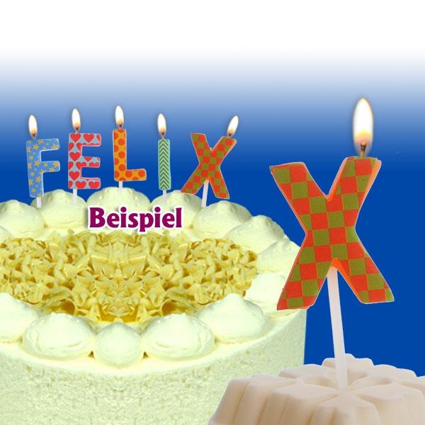 Mini Kerze Buchstabe X, 2,5cm, für Namen vom Geburtstagskind, 1 Stück