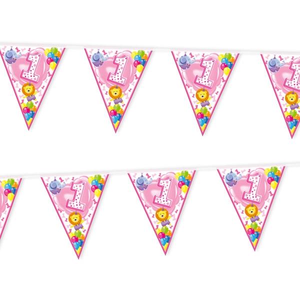 Wimpelkette, 1. Geburtstag Mädchen, 1 Stück, 3,6 m