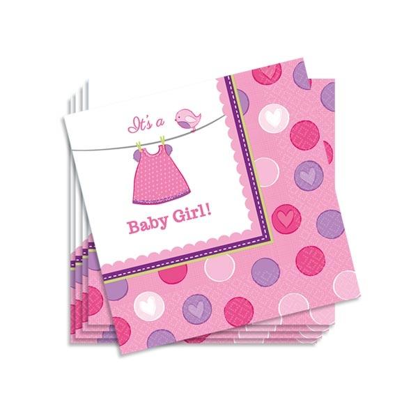 Partyservietten Baby Girl in Pink, 16 Stück, 25 × 25 cm, Papier