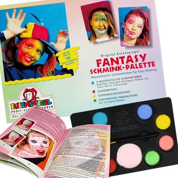Fantasy-Schminkpalette, mit 8 Farben, Schminkpinsel, Make Up Schwamm, ausführl.Anleitung
