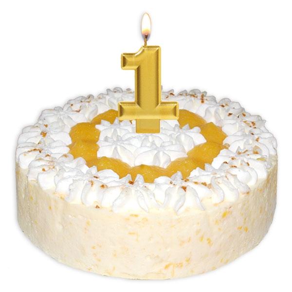 Zahlenkerze 1, große schimmernde Kerze in gold