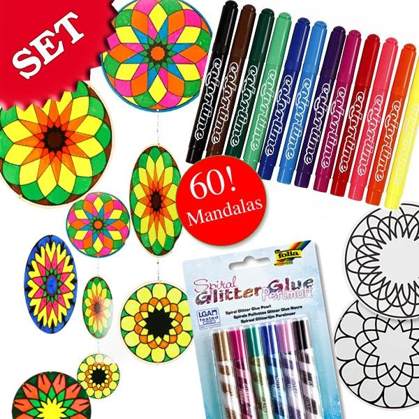 Bastelset für 60 wunderschöne Mandalas +60 Verbinder, Glitter, Stifte