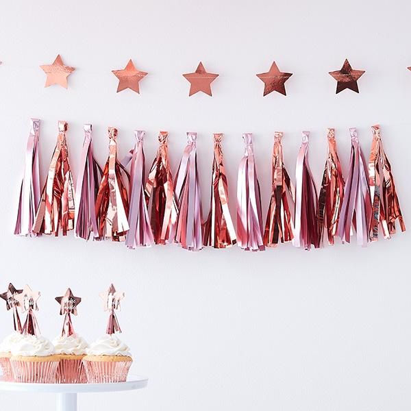 Babyparty Tasselgirlande, roségold & pink, 1,5m, Pullerparty Deko