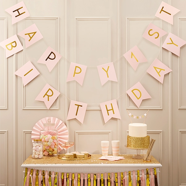 "Wimpelkette ""Happy 1st Birthday"", 3m"
