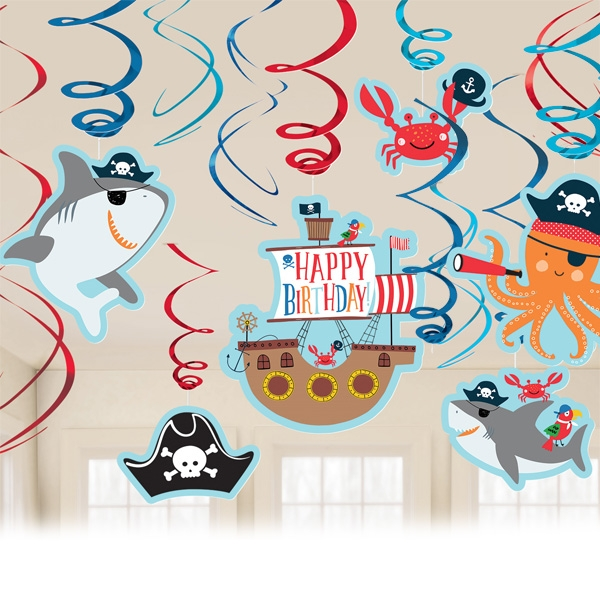 Ahoi Piraten, Spiralen, 12 Stk, metallic, Piraten Party Motive