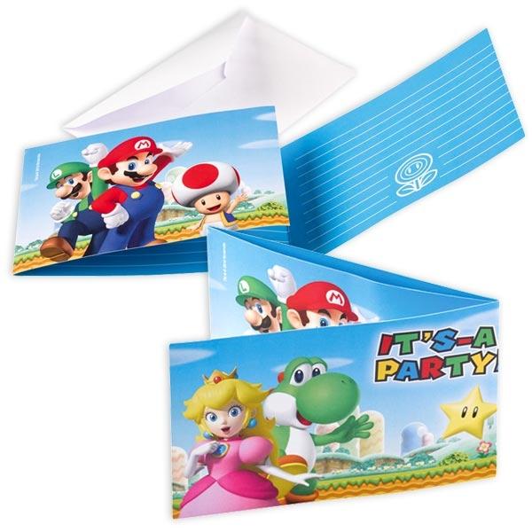 Super Mario Einladungen zum Aufklappen mit Umschlägen, 8 Stk.