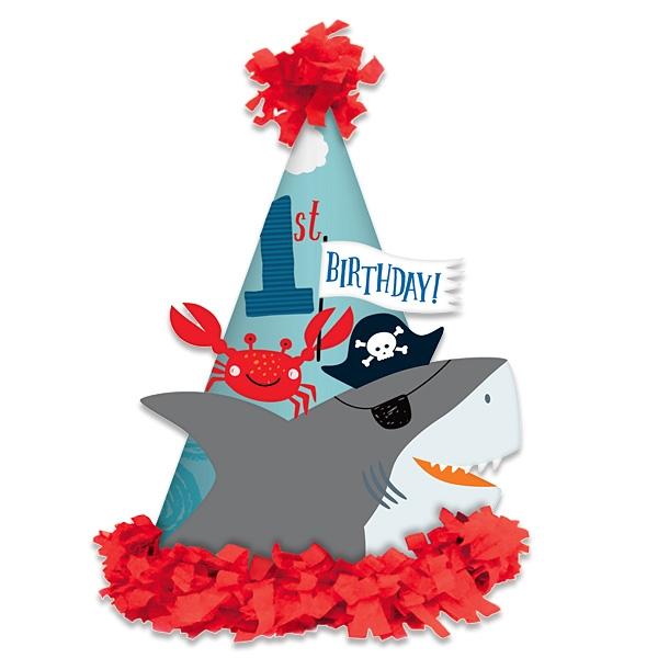 Ahoi Piraten, 1x Partyhütchen zum 1. Geburtstag, mit Fransen