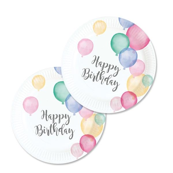 Ballon Party Kleine Partyteller, 8 Stk, 18cm, Pastell