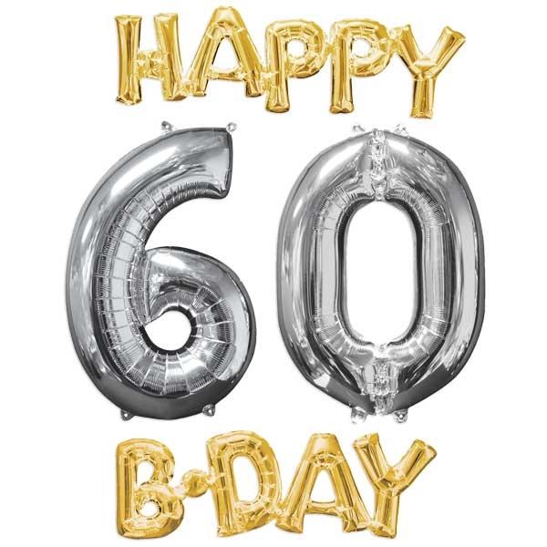 """""""HAPPY 60 B-DAY XL"""" Ballonset zum 60. Geburtstag gold-silber"""