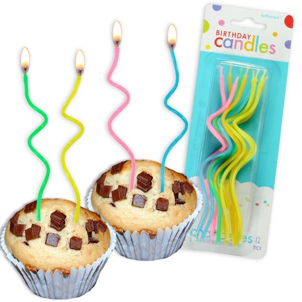 Wendelkerzen, 12 Stück, gebogen für Kuchen und Muffins, ca. 13cm