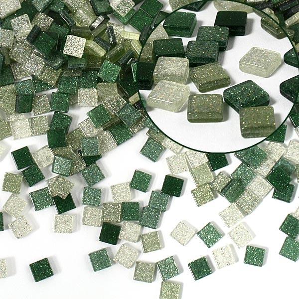 Mosaiksteine, 700 Stück, 5x5mm GLITTER MIX - grün