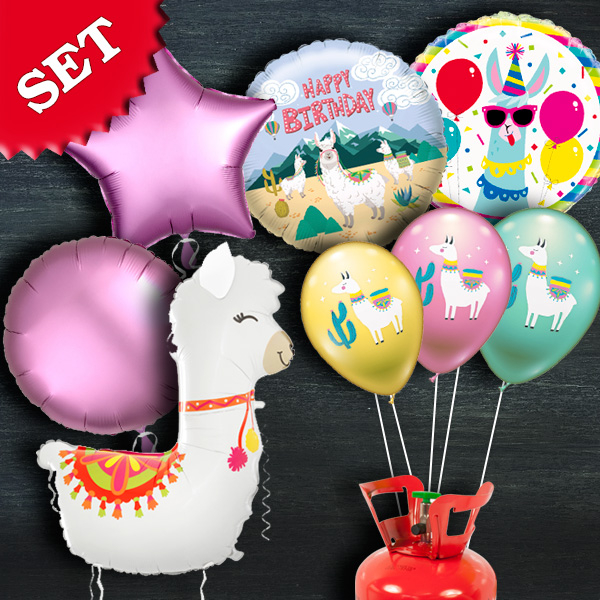 "Heliumballon-Set ""Lama"", 12-teilig"