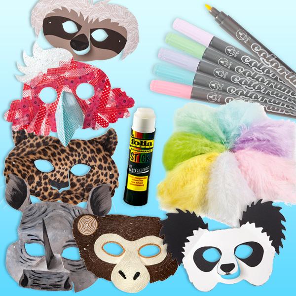 """Bastelset """"Exotische Tiermasken"""",  für 6 Kids"""