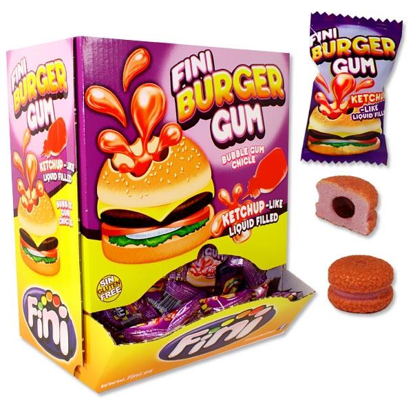 Großpack Burger Kaugummis, 200 Bubble Gums mit Flüssigfüllung