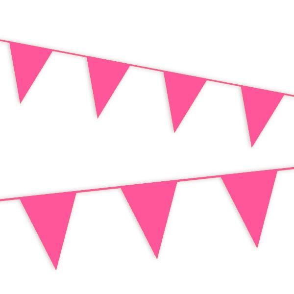 Wimpelkette in Pink aus Folie, Partydeko für draußen, 10 m