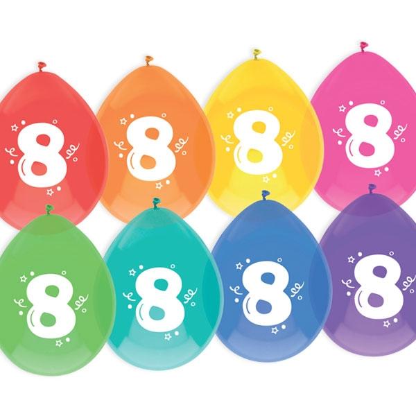 """Luftballons, bedruckt mit der Zahl """"8"""""""