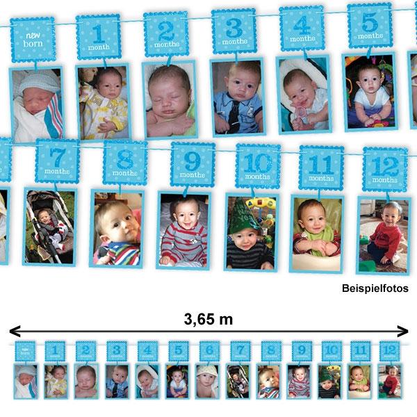 """Glitzer-Fotogirlande blau, von """"neu geboren"""" bis 12 Monate, 3,65 m"""