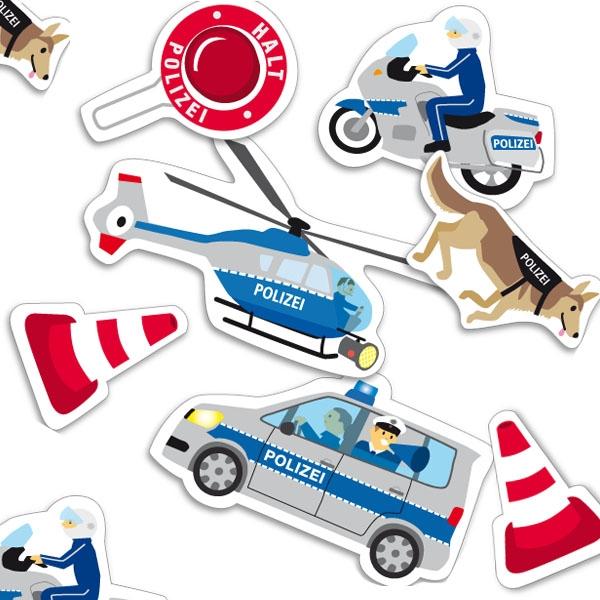 Polizei-Motivkonfetti mit Polizeiauto, Hubschrauber, Motorrad etc., 24 Teile